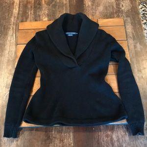 Ralph Lauren, Black V-Neck Sweater, Size Small